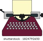 typewriter icon. outline with...