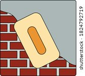 icon of plastered brick wall....