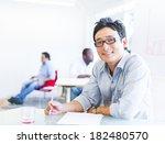 cheerful asian businessman... | Shutterstock . vector #182480570