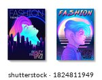 futuristic synth wave style.... | Shutterstock .eps vector #1824811949