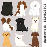 set of flat colored adorable...   Shutterstock .eps vector #1824825503