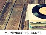 old records stack. vintage... | Shutterstock . vector #182483948