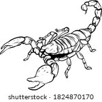 Mascot icon illustration of a scorpion, a predatory arachnid of the order Scorpiones