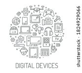 digital devices thin line icons ... | Shutterstock .eps vector #1824929066