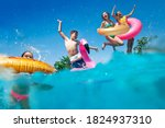 Small photo of Half underwater split image of many little kids dive in the swimming pool throw inflatable toys lifting hands have fun
