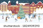 happy people crowd on ice rink. ... | Shutterstock .eps vector #1824939293