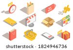 isometric shopping icons set....   Shutterstock .eps vector #1824946736
