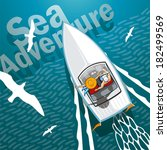 sea adventure romantic young... | Shutterstock .eps vector #182499569