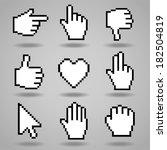 Pixel Cursors Icons  Hand ...