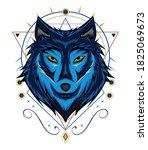 the wolf vector design. wolve... | Shutterstock .eps vector #1825069673