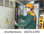 young adult electrician builder ... | Shutterstock . vector #182511350