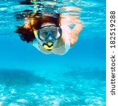 woman with mask snorkeling in... | Shutterstock . vector #182519288