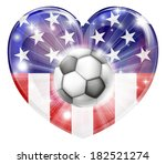 America soccer football ball flag love heart concept with the American flag in a heart shape and a soccer ball flying out  - stock vector