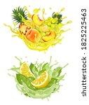 set of fruit juice splash.... | Shutterstock .eps vector #1825225463