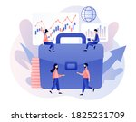 trading online. tiny people buy ... | Shutterstock .eps vector #1825231709
