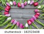 frame of fresh tulips arranged... | Shutterstock . vector #182523608
