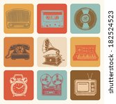 retro media icons drawings set