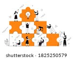the concept of joint teamwork ... | Shutterstock .eps vector #1825250579