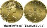 british money silver coin five... | Shutterstock .eps vector #1825268093