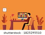 man using computer to learning... | Shutterstock .eps vector #1825295510