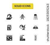 eco icons set with factory ...