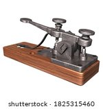 3D Rendering Illustration of an Antique Morse Telegraph Key created in the1830s and1840s by Samuel Morse  and other inventors; with wooden base and mobile metal componets for long distant comunications.