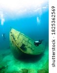 Small photo of The Nordmeer, a 470-foot cargo freighter, sank in 1966 on Lake Huron after running aground near Thunder Bay Island.