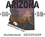 Arizona Desert Illustration Print with Slogan - Hand Drawn Vector - Canyon Road Sketch with Cactus and Cow Skull - 1912 Grand Canyon State - Arizona Map Poster