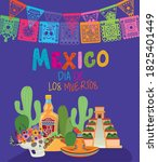 icon set and mexico day of the... | Shutterstock .eps vector #1825401449