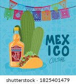mexico culture with tequila... | Shutterstock .eps vector #1825401479