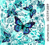 blue floral background with... | Shutterstock .eps vector #1825591889