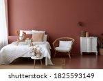 Cozy Bedroom Interior Of Retro...