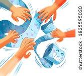 hands grab a runaway roll of... | Shutterstock . vector #1825595030