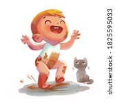 toddler and the cat play... | Shutterstock . vector #1825595033