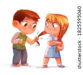 the boy pulls the girl's... | Shutterstock . vector #1825595060