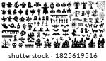 set of silhouettes of halloween ... | Shutterstock .eps vector #1825619516