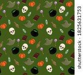 halloween seamless colorful... | Shutterstock . vector #1825631753