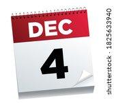 december  4th on a calendar...   Shutterstock .eps vector #1825633940