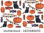 halloween seamless pattern 4... | Shutterstock . vector #1825680653