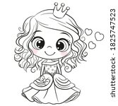 cute cartoon princess outlined... | Shutterstock .eps vector #1825747523