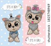 cute cartoon dogs yorkshire...   Shutterstock .eps vector #1825748969