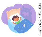 scared kid dreaming of scary... | Shutterstock .eps vector #1825773509