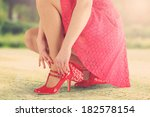 red shoes red skirt and sunset  | Shutterstock . vector #182578154
