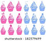 cute cupcakes set isolated on... | Shutterstock .eps vector #182579699