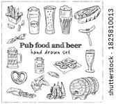 pub food and beer  menu doodle... | Shutterstock .eps vector #1825810013