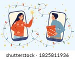 friends celebrate christmas and ... | Shutterstock .eps vector #1825811936