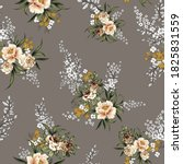 brown vector flowers with... | Shutterstock .eps vector #1825831559