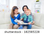 grandmother reading to... | Shutterstock . vector #182585228