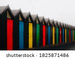 Claremont pier Lowestoft England beach huts multiple coloured holiday huts