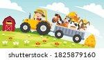 funny little farmer riding... | Shutterstock .eps vector #1825879160
